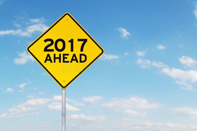 Señal de tráfico con el número 2017 y a continuación libre illustration