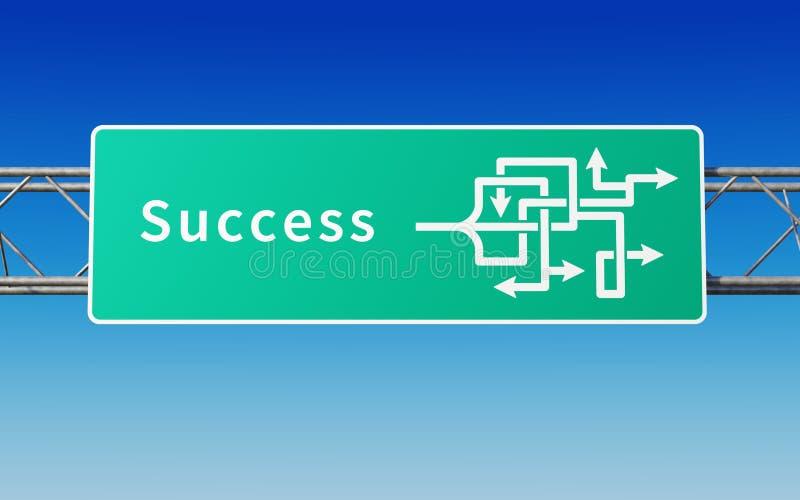 Señal de tráfico con las trayectorias múltiples al éxito ilustración del vector