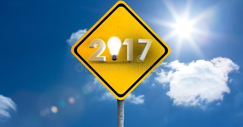 señal de tráfico 2017 contra una imagen compuesta 3D de nubes y del cielo libre illustration