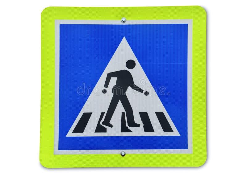 Señal de tráfico de cuidado, señal de tráfico peatonal del reflector del metal aislada en el fondo blanco fotos de archivo