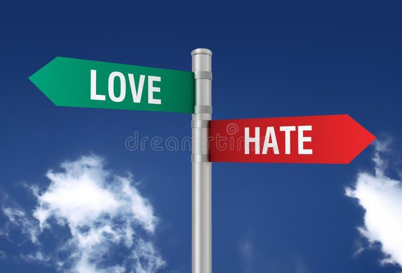 Señal de tráfico de amor y odio foto de archivo libre de regalías