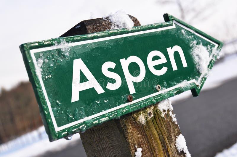 Señal de tráfico de ASPEN foto de archivo libre de regalías