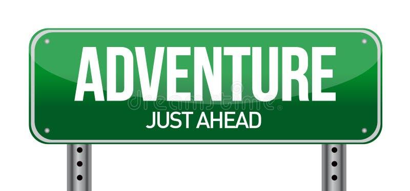 Señal de tráfico de la aventura stock de ilustración