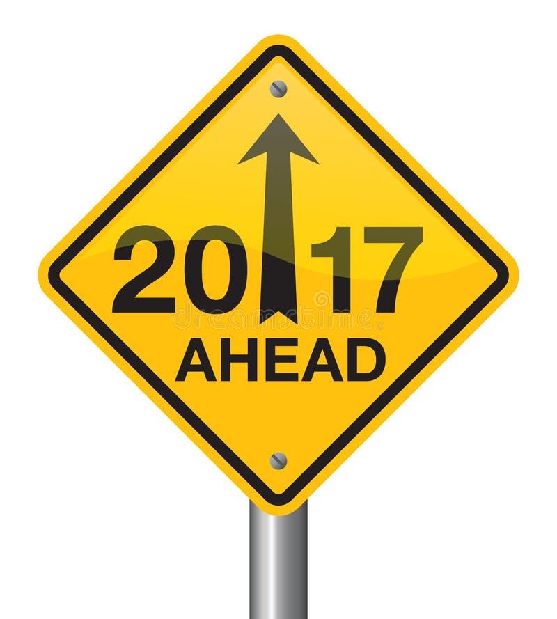 Señal de tráfico 2017 de la Feliz Año Nuevo ilustración del vector