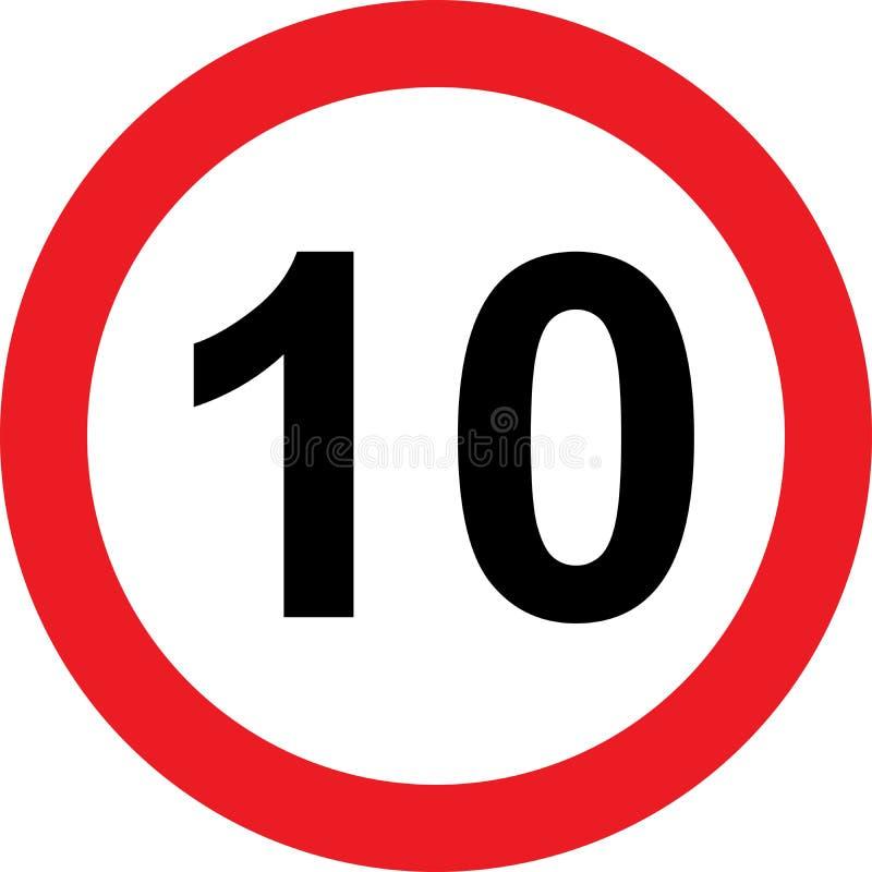 señal de tráfico de la limitación de 10 velocidades libre illustration