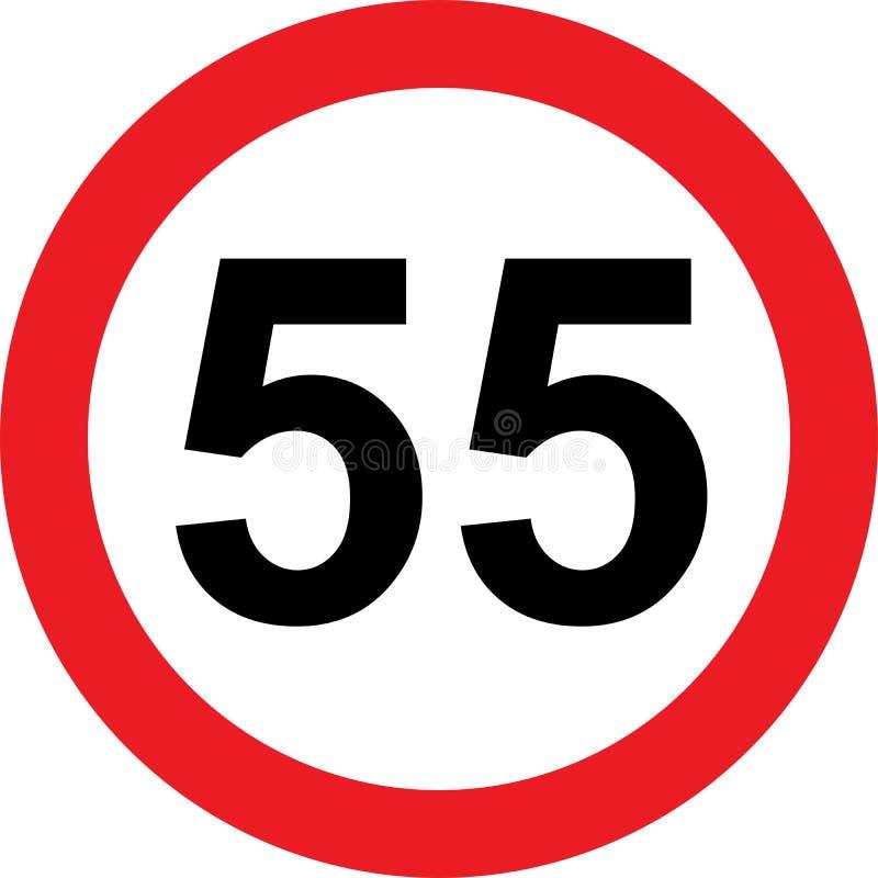 señal de tráfico de la limitación de 55 velocidades stock de ilustración