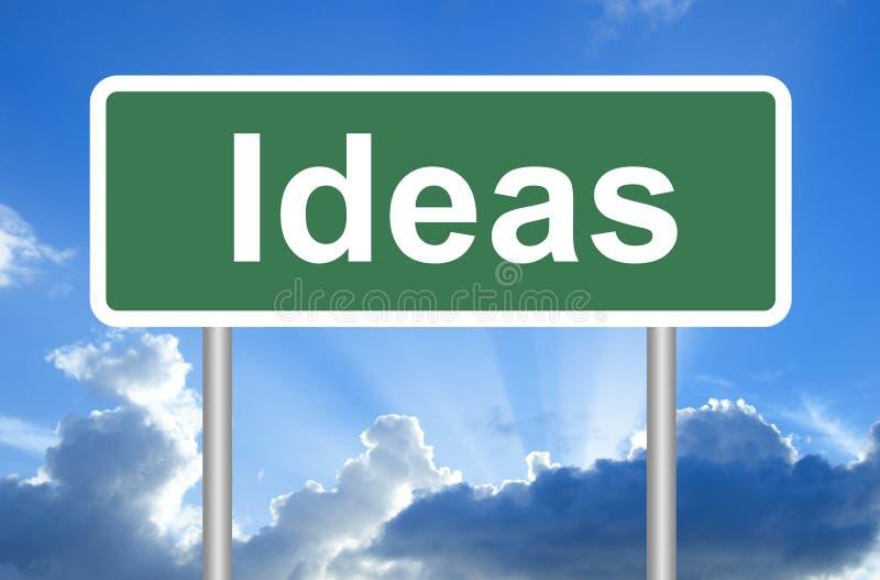 Señal de tráfico de las ideas en el cielo azul con las nubes stock de ilustración
