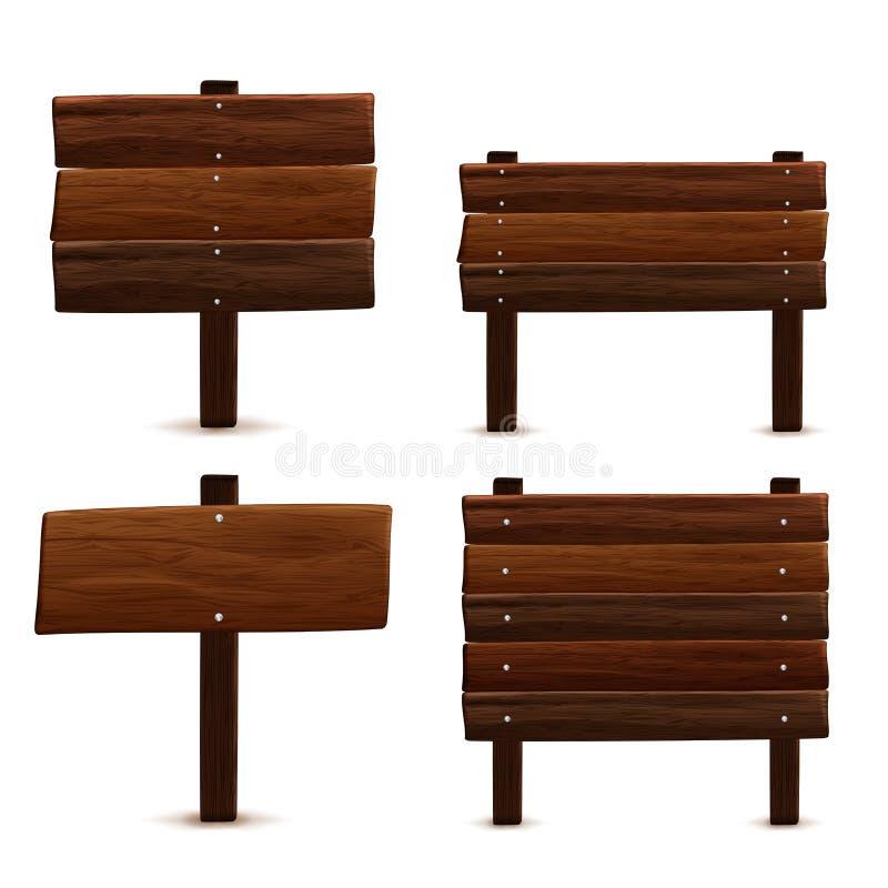 Señal de tráfico de madera stock de ilustración