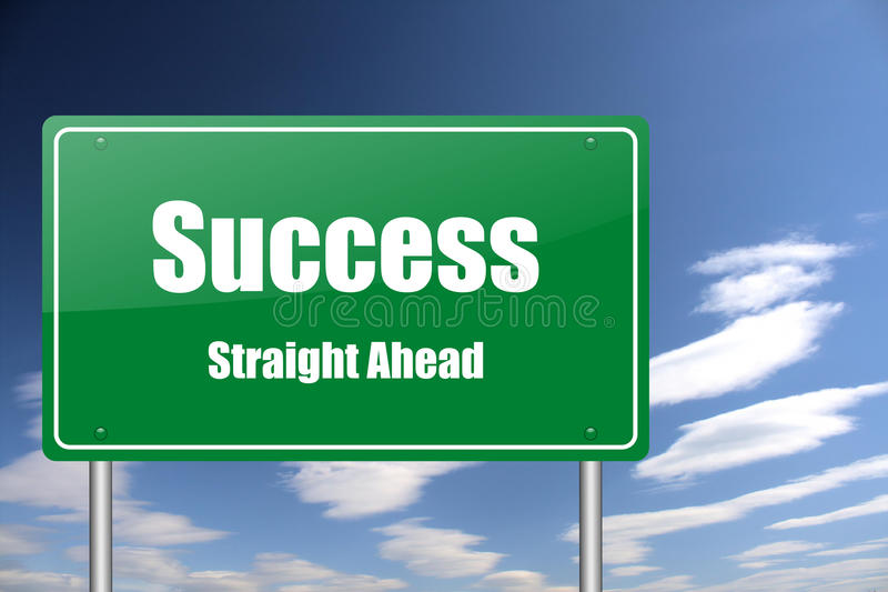 Señal de tráfico del éxito ilustración del vector