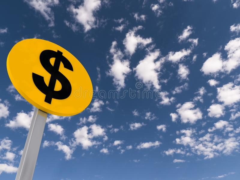 Señal de tráfico del dólar ilustración del vector