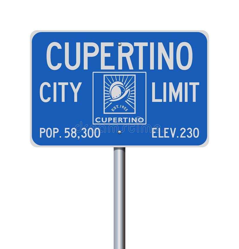 Señal de tráfico del límite de ciudad de Cupertino stock de ilustración