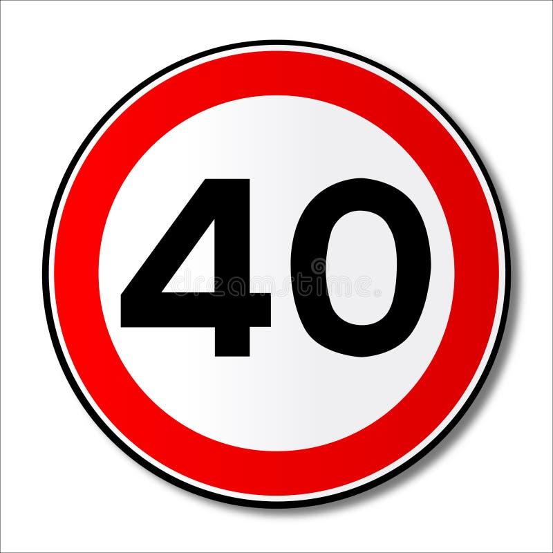 Señal de tráfico del límite de 40 MPH ilustración del vector