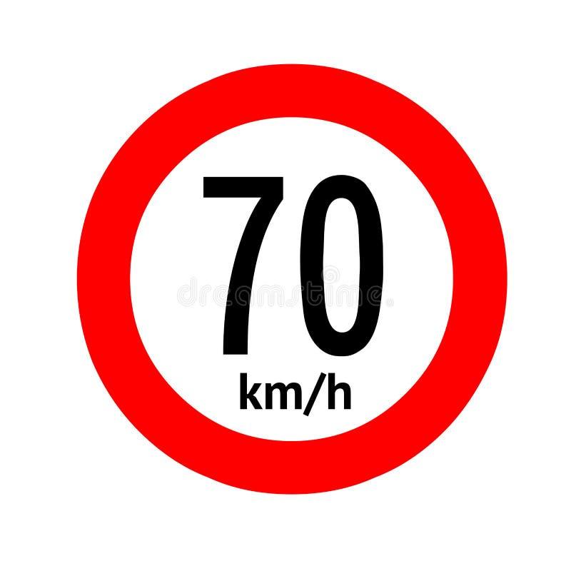 Señal de tráfico del límite de velocidad 70 stock de ilustración
