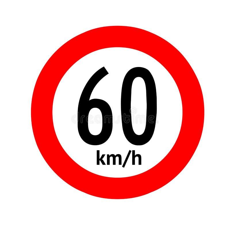 Señal de tráfico del límite de velocidad 60 libre illustration