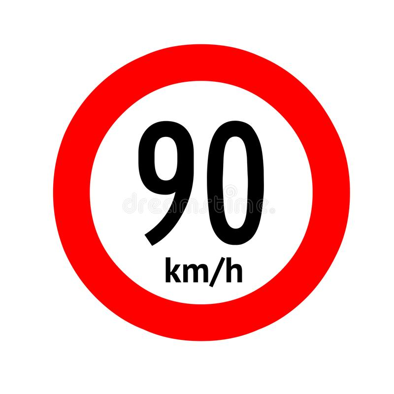 Señal de tráfico del límite de velocidad 90 libre illustration