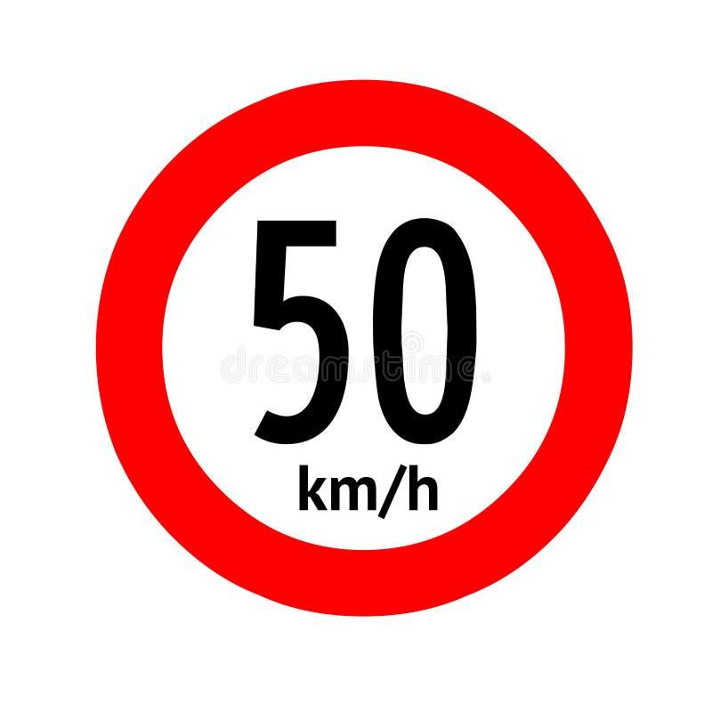 Señal de tráfico del límite de velocidad 50 ilustración del vector