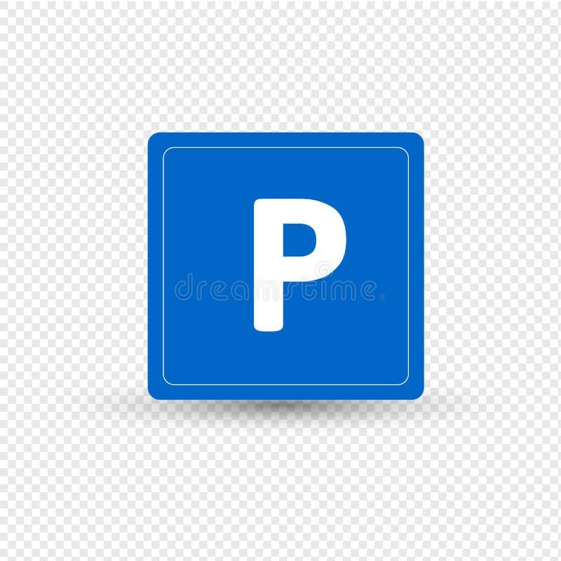 Señal de tráfico, designación, parqueando para los vehículos de motor, zona para la parada ilustración del vector