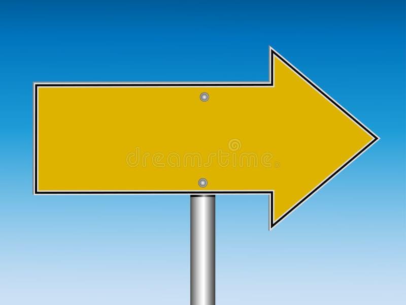 Señal de tráfico direccional amarilla en blanco (vector) ilustración del vector