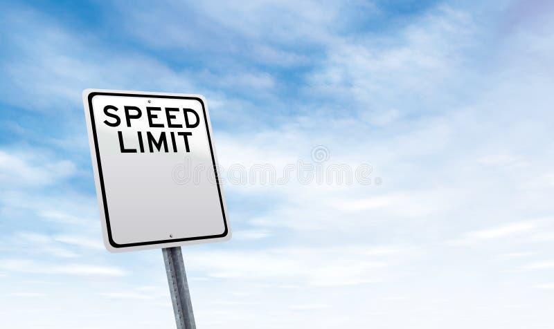Señal de tráfico en blanco del límite de velocidad con el espacio de la copia del cielo fotografía de archivo libre de regalías