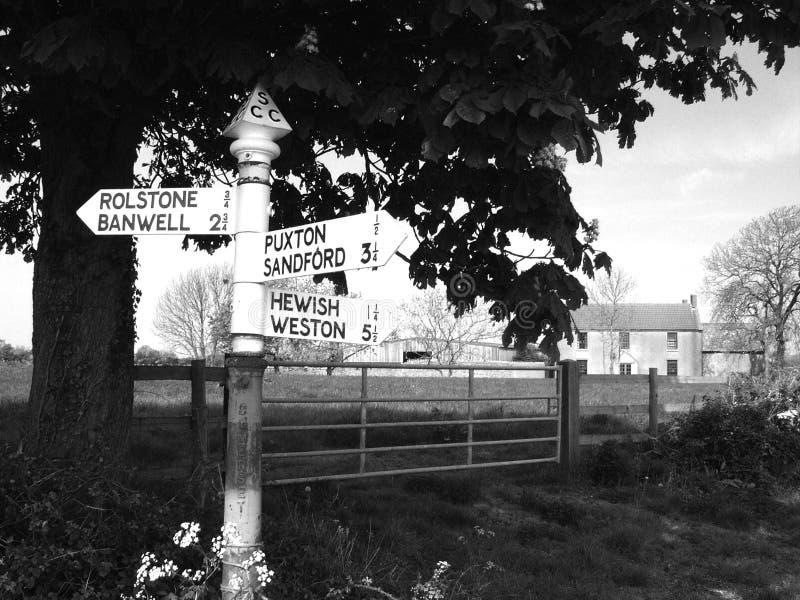 Señal de tráfico en Puxton Somerset del norte imagen de archivo libre de regalías