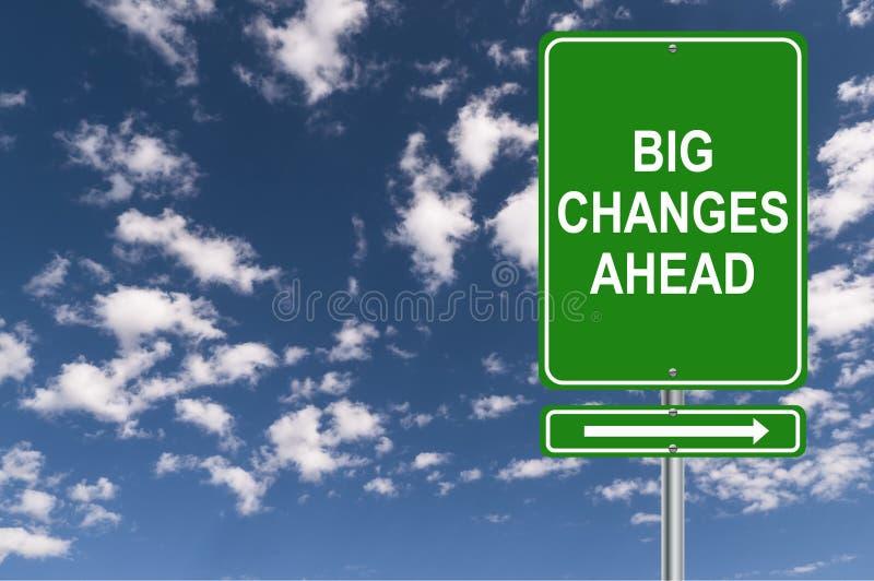 Señal de tráfico grande de los cambios a continuación imagenes de archivo