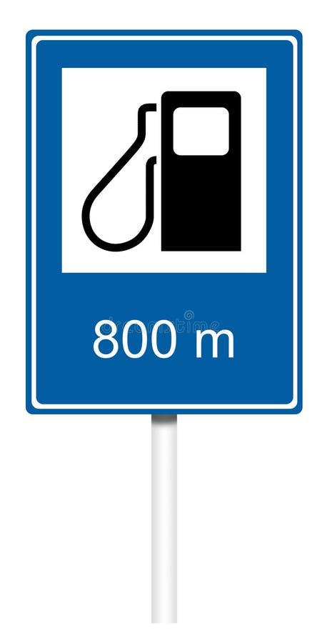 Señal de tráfico informativa - gasolinera ilustración del vector
