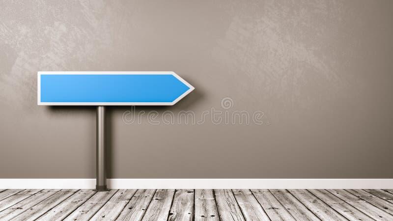 Señal de tráfico de la flecha direccional en el cuarto con el espacio de la copia stock de ilustración