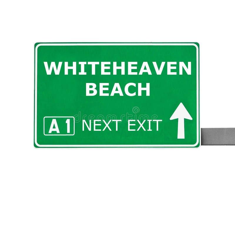 Señal de tráfico de la PLAYA de WHITEHEAVEN aislada en blanco fotografía de archivo libre de regalías