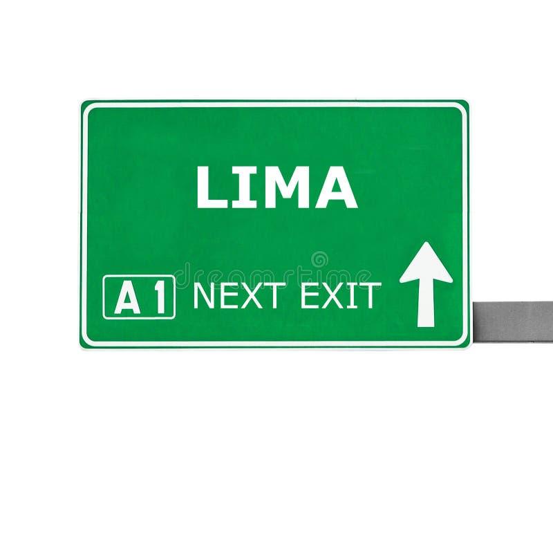Señal de tráfico de LIMA aislada en blanco foto de archivo libre de regalías