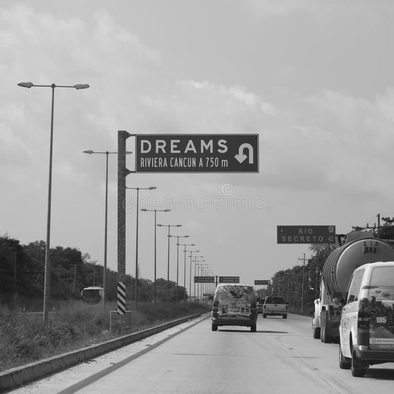 Señal de tráfico México de los sueños foto de archivo