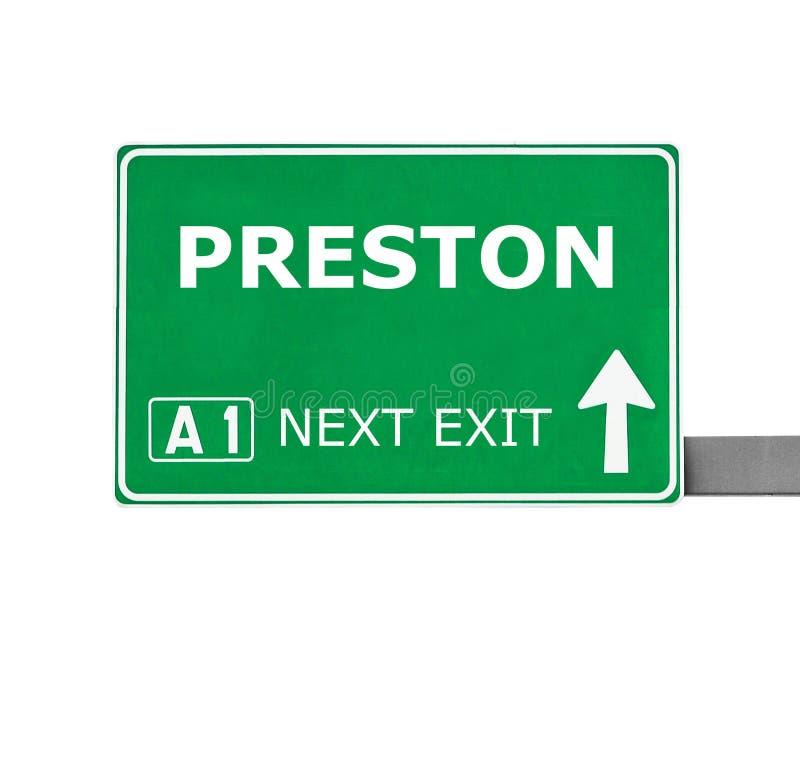 Señal de tráfico de PRESTON aislada en blanco foto de archivo libre de regalías