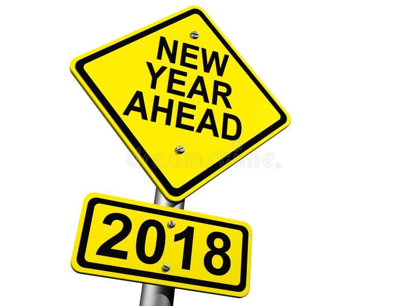 Señal de tráfico que indica el Año Nuevo 2018 a continuación fotografía de archivo