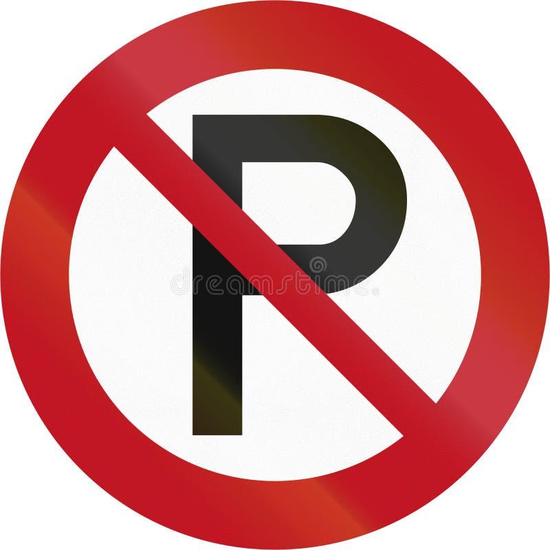 Señal de tráfico RP-1 - estacionamiento prohibido de Nueva Zelanda ilustración del vector