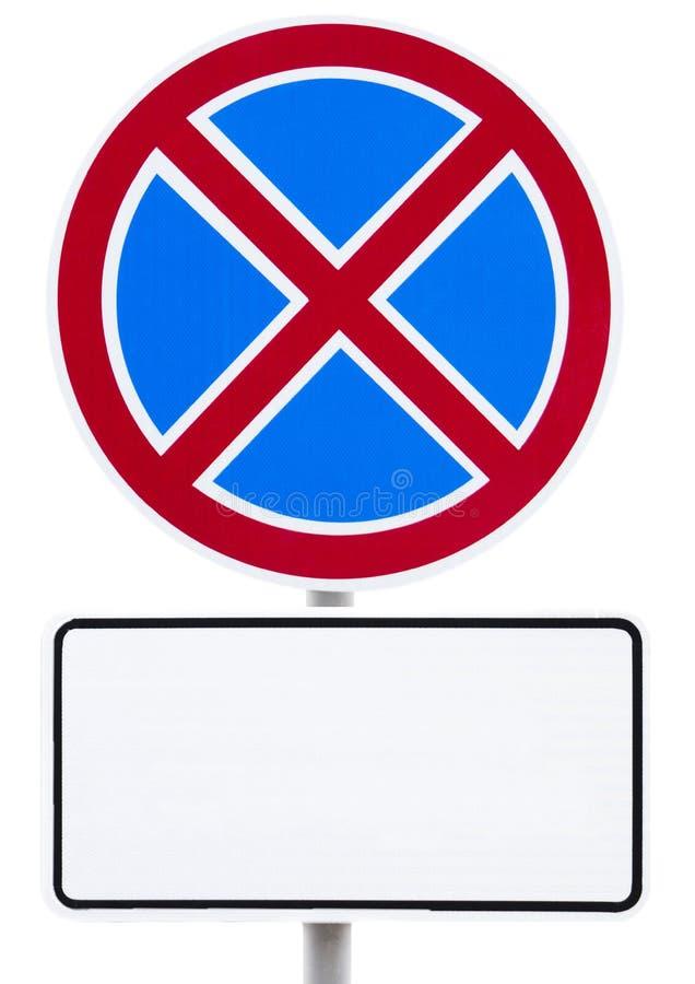 Señal de tráfico - se prohíbe la parada y la muestra blanca para la inscripción imagen de archivo