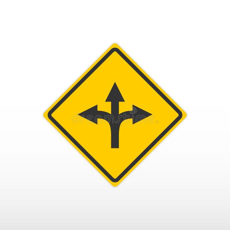 Señal de tráfico de tres vías de la bifurcación Engrana el icono stock de ilustración