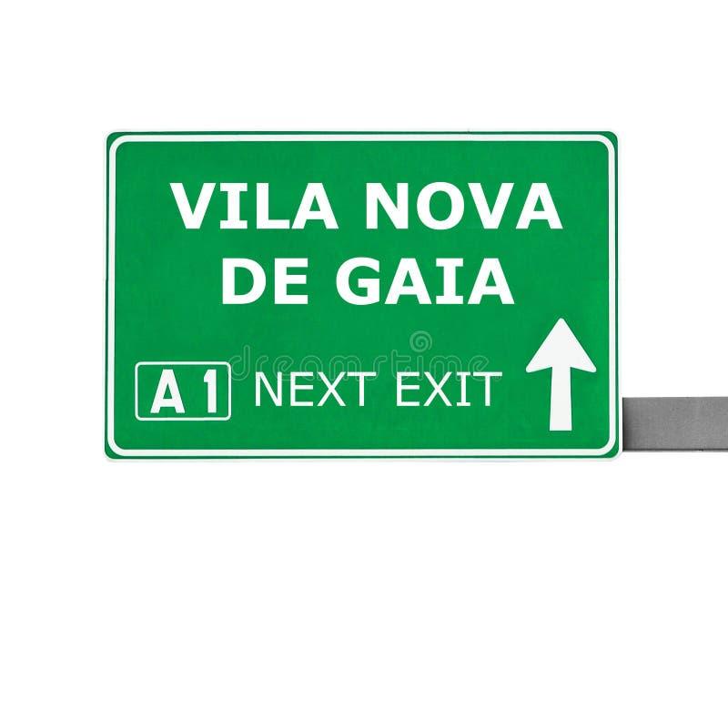 Señal de tráfico de VILA NOVA DE GAIA aislada en blanco imágenes de archivo libres de regalías