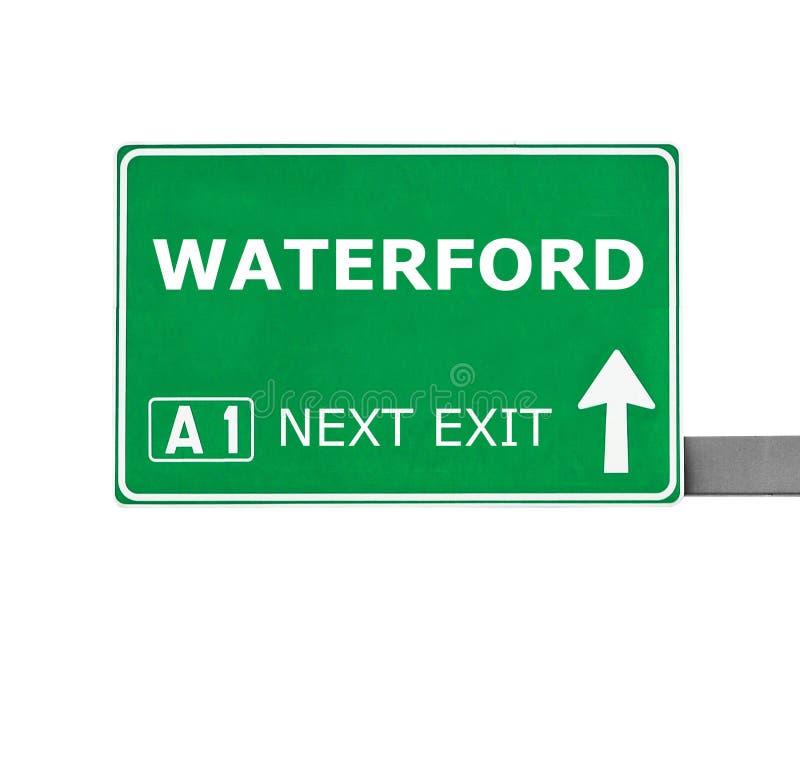 Señal de tráfico de WATERFORD aislada en blanco imagen de archivo