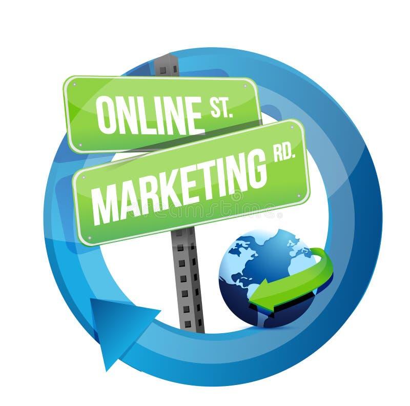 Señal de tráfico y globo en línea del márketing stock de ilustración