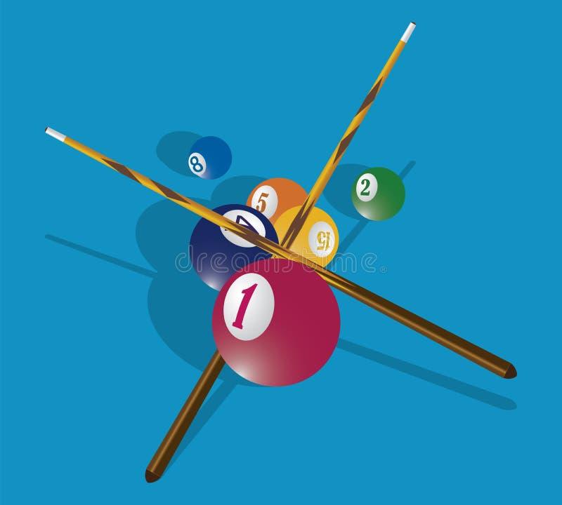 Señal del billar y bolas de piscina en la tabla verde ilustración del vector