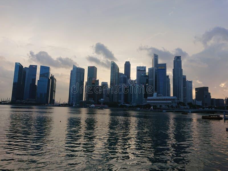 Señal del centro financiero de Singapur foto de archivo