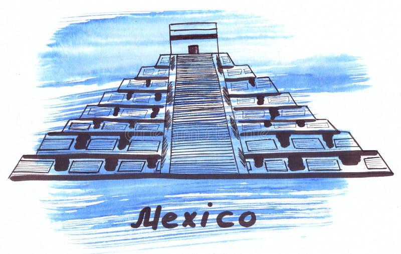 Señal del ejemplo que bosqueja la pirámide del sol en México stock de ilustración