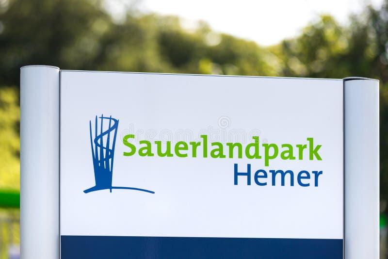 Señal del parque de Sauerlandpark en Alemania de Hécrata foto de archivo libre de regalías