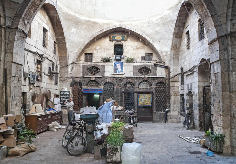 Señal del souk del mercado del bazar de Hamidiye en Damasco Siria foto de archivo libre de regalías