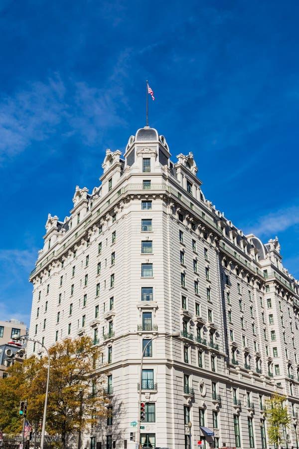 Señal exterior Monum de la arquitectura de Willard Hotel Washington DC imagen de archivo libre de regalías