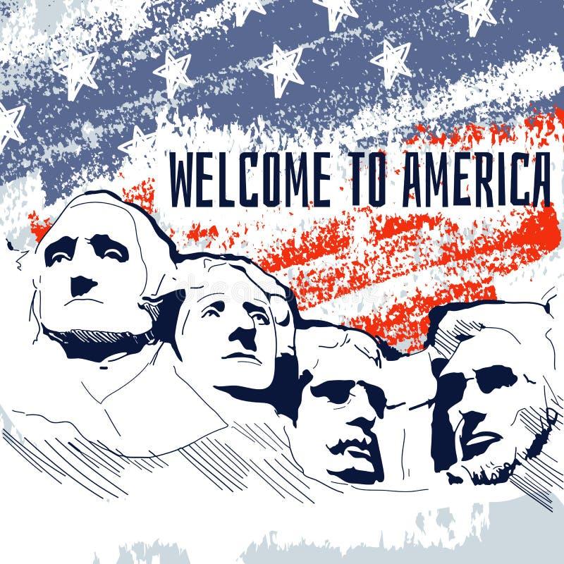 Señal famosa de América UAS, el monte Rushmore, seis Grandf libre illustration
