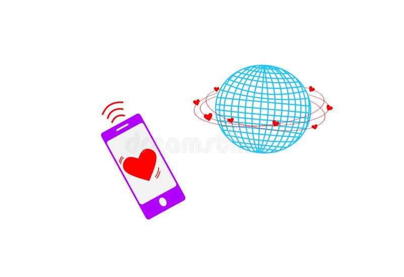Señal global del amor y teléfono móvil stock de ilustración