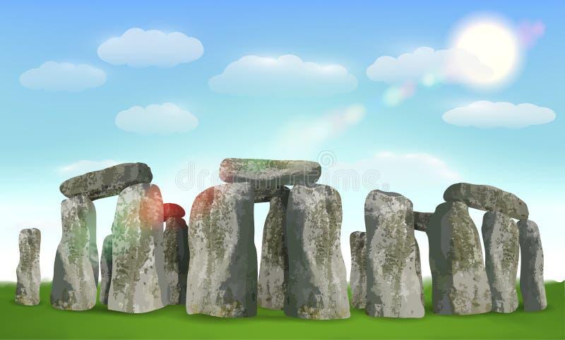 Señal inglesa de Stonehenge en campo con el cielo ilustración del vector