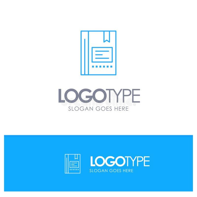 Señal, libro, educación, favorito, nota, cuaderno, leyendo el logotipo azul del esquema con el lugar para el tagline ilustración del vector