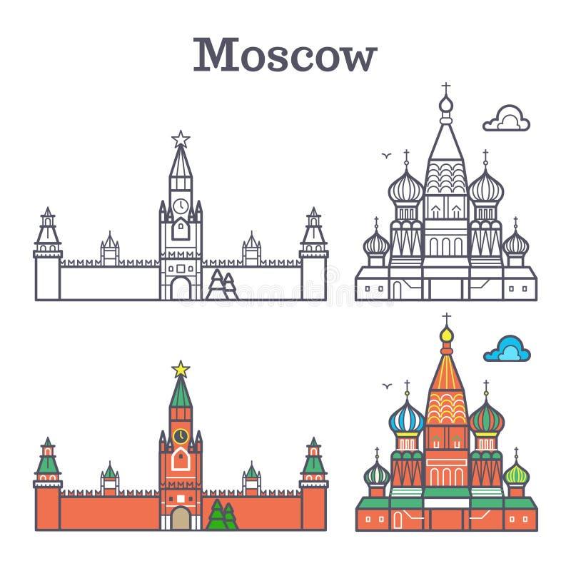 Señal linear de Moscú Rusia, edificios soviéticos, Plaza Roja ilustración del vector