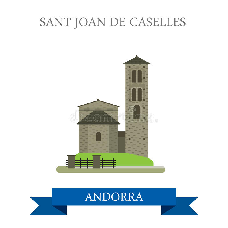Señal plana de la atracción del vector de Sant Joan de Caselles Andorra ilustración del vector